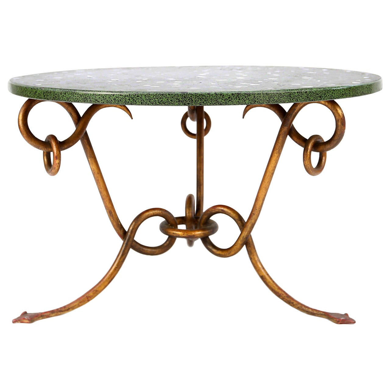 Chan Marble Top Round Coffee Table 80cm Brown Brass: René Drouet Coffee Table With Marble Top At 1stdibs