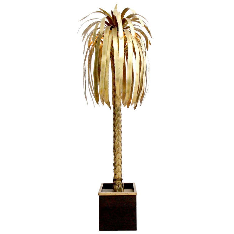 maison jansen palm tree floor lamp at 1stdibs. Black Bedroom Furniture Sets. Home Design Ideas