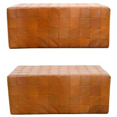 Pair of Leather Benches by De Sede