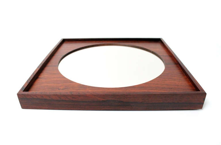 Perfect Square Swedish Rosewood Mirror For Sale 4