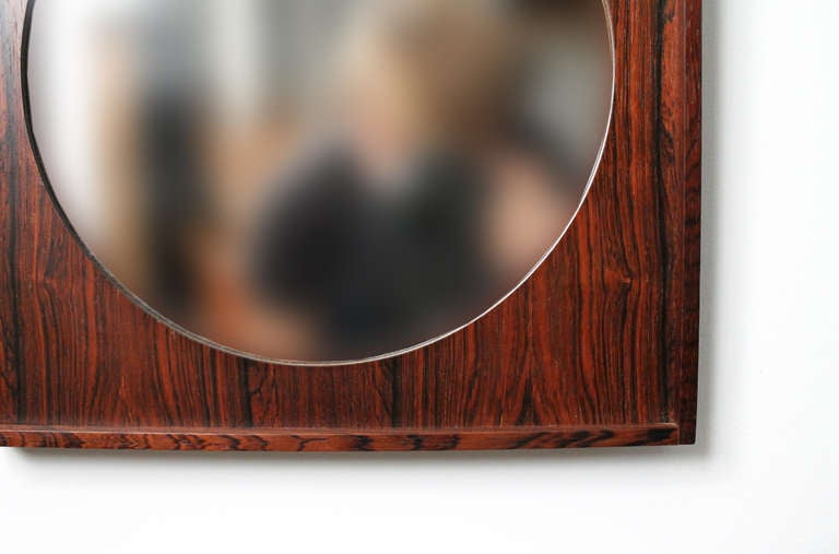 Perfect Square Swedish Rosewood Mirror For Sale 3