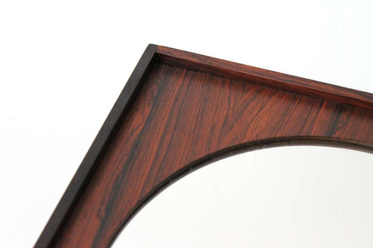 Mid-20th Century Perfect Square Swedish Rosewood Mirror For Sale