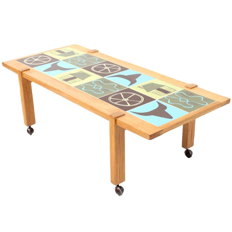 Western themed pottery tile table by ranch oak at 1stdibs for Themed coffee tables