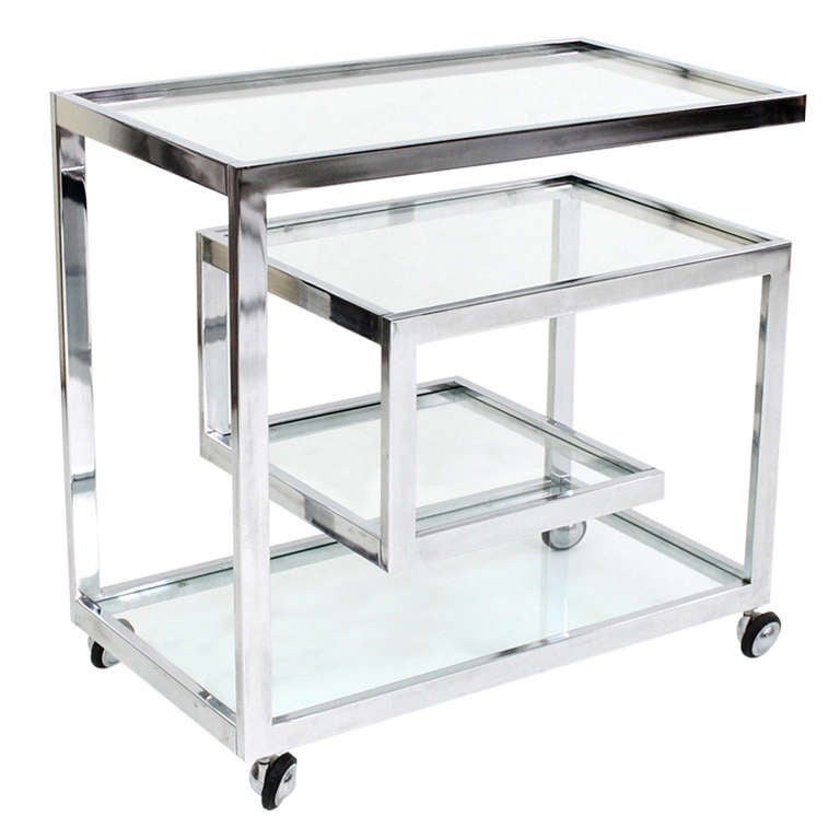 Chrome And Gl Bar Cart By Milo Baughman For At 1stdibs
