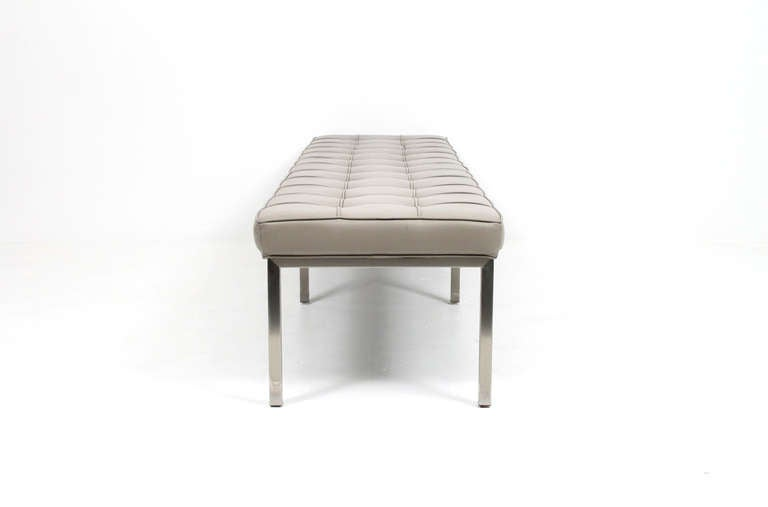 Pair Of Tufted Leather Benches By Brueton At 1stdibs