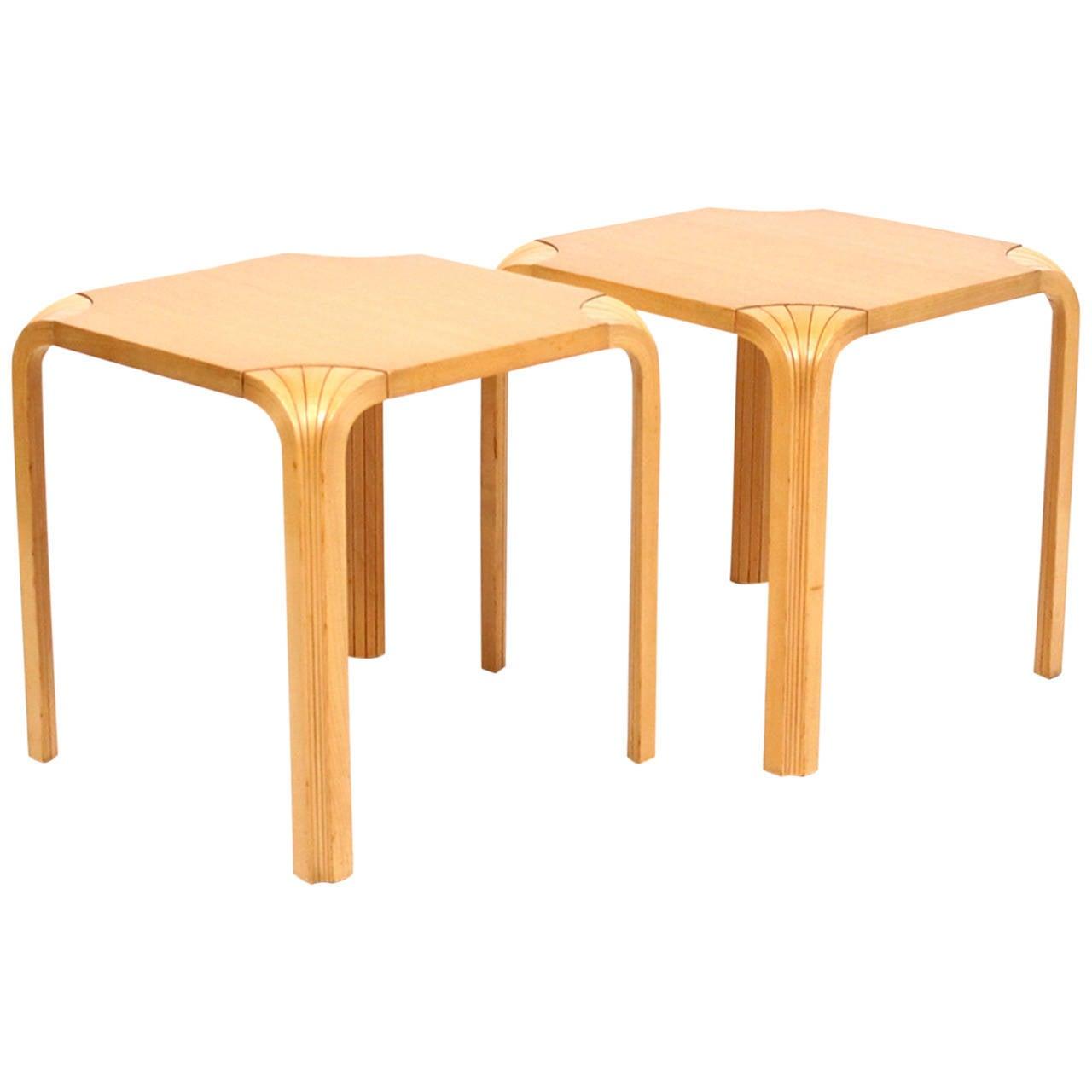 alvar aalto for artek fan leg side tables at 1stdibs. Black Bedroom Furniture Sets. Home Design Ideas