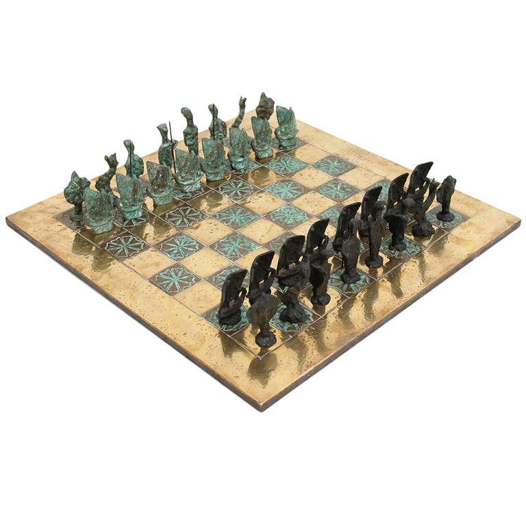 Giacometti Inspired Bronze Chess Set At 1stdibs