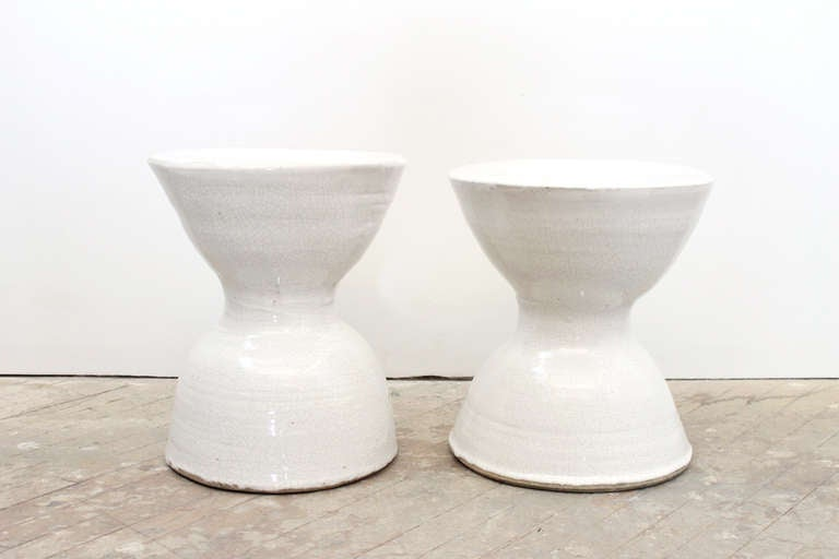 Pair Of Ceramic Stools Or End Tables At 1stdibs