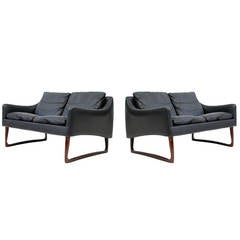 Pair of Rosewood & Leather Settees by Hans Olsen