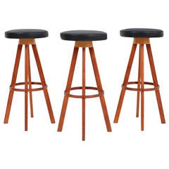 Set of Three Hans Olsen Teak Barstools