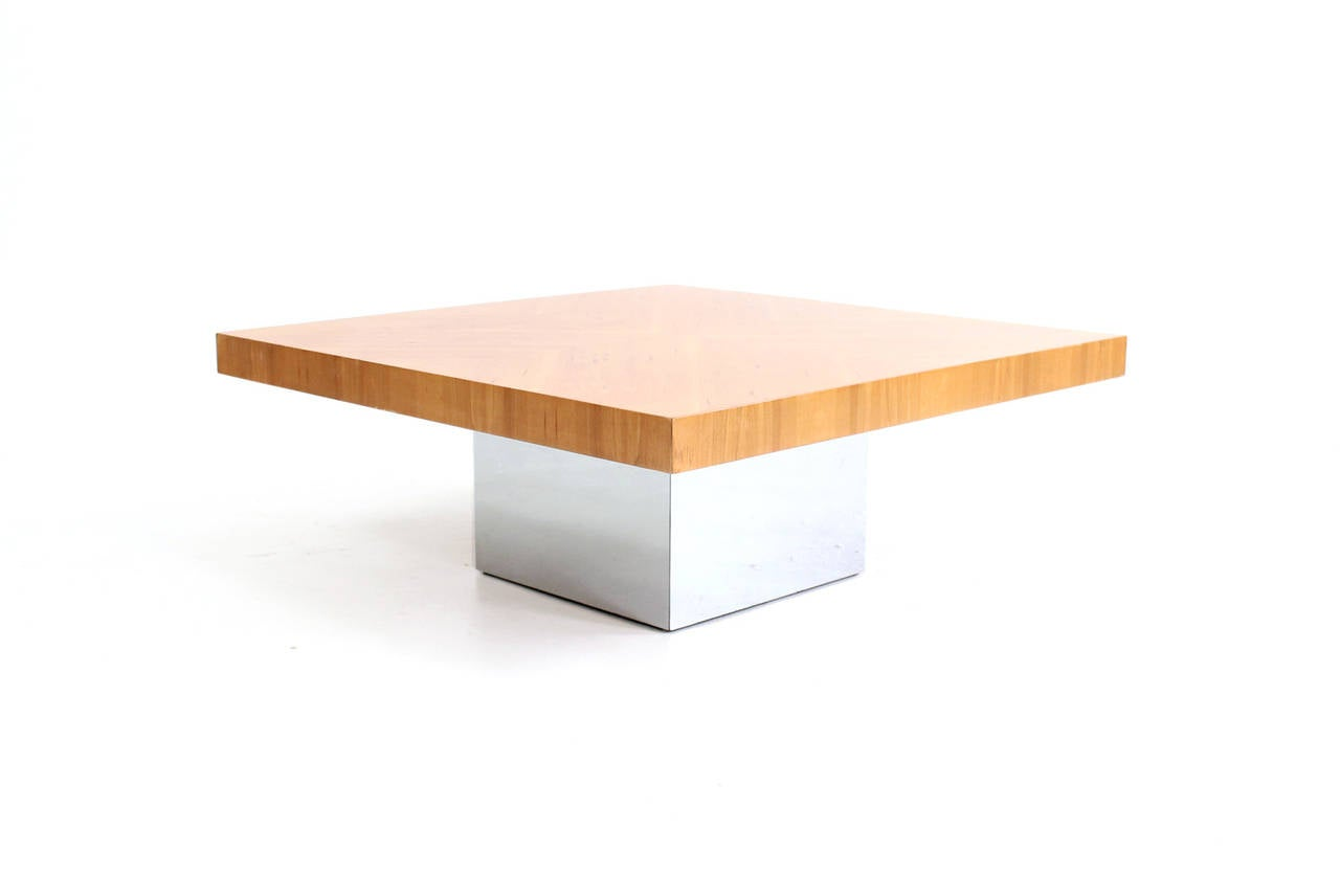 Milo Baughman For Thayer Coggin Burl Wood And Chrome Coffee Table At 1stdibs
