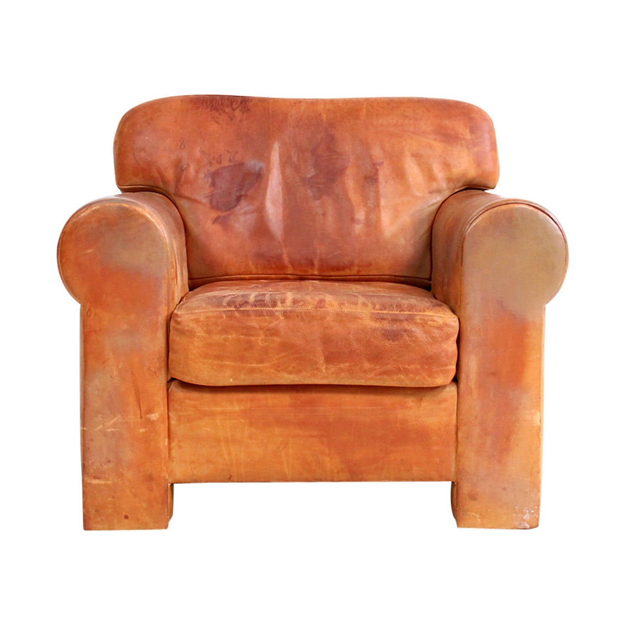 Custom Leather Club Chair At 1stdibs