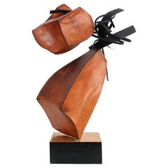 Abstract Leather and Steel Sculpture