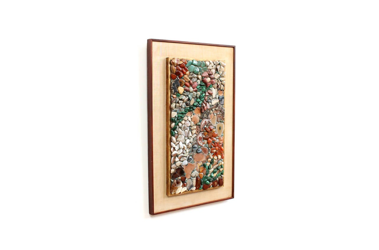 """Stone mosaic wall hanging by listed artist Miriam Rogers. Variety of stones and minerals arranged in an abstract manner and framed in a period linen and gilded Heydenryk frame. Signed, dedicated, and titled """"Japanese Water Colors"""" to the reverse."""