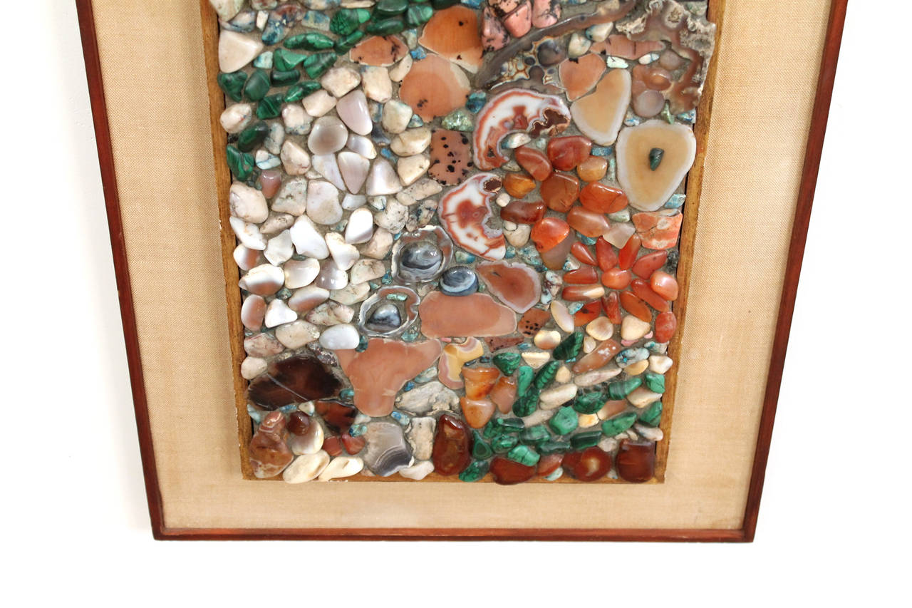 American Miriam Rogers Stone Mosaic Wall Hanging For Sale