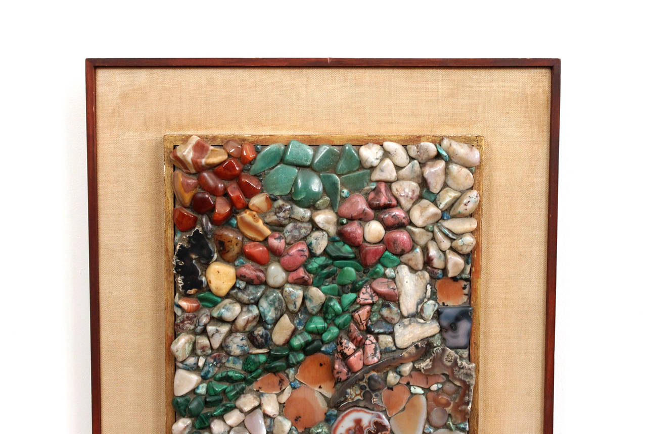 Mid-Century Modern Miriam Rogers Stone Mosaic Wall Hanging For Sale