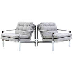 Flat Bar Chrome Lounge Chairs by Cy Man