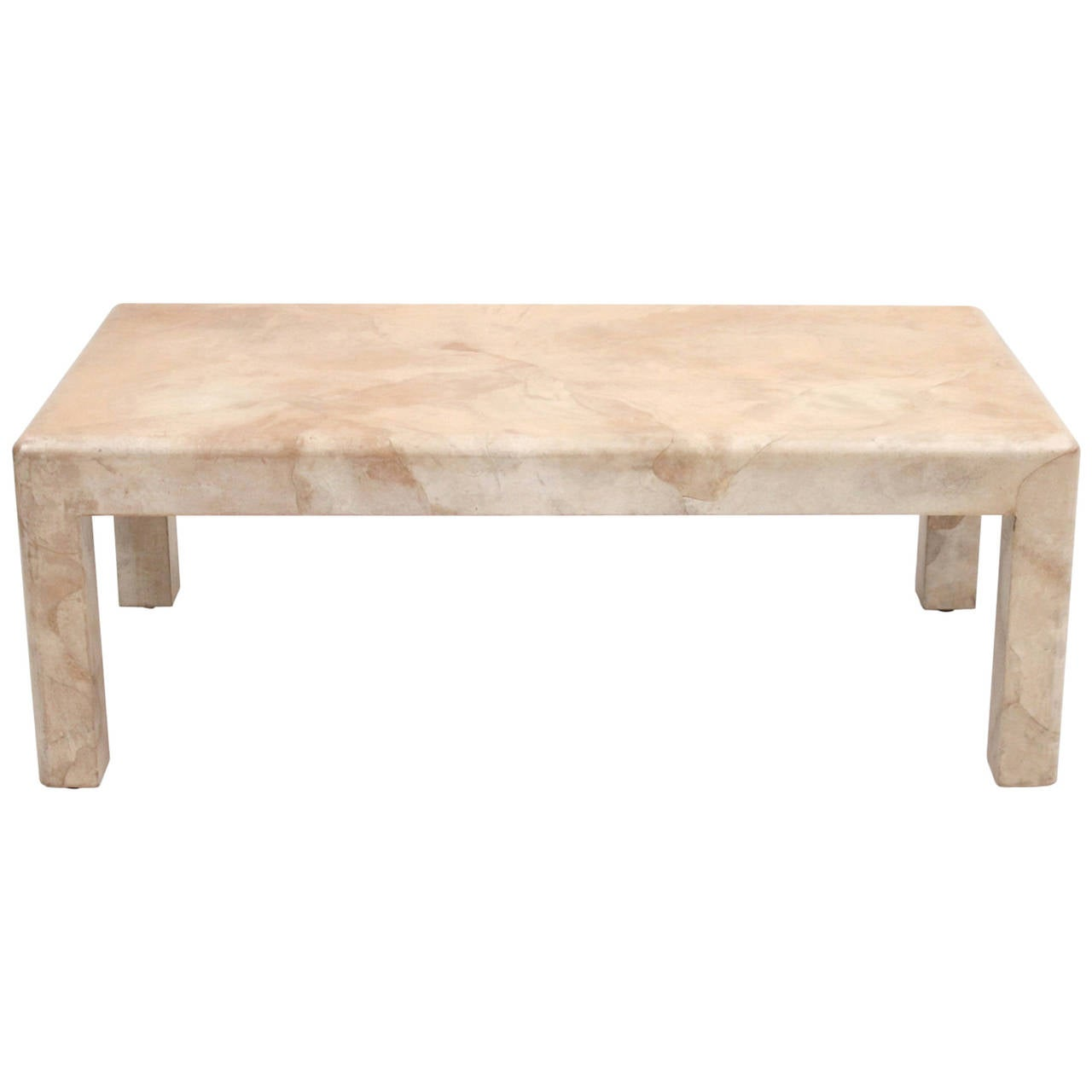 signed karl springer goatskin coffee table at 1stdibs