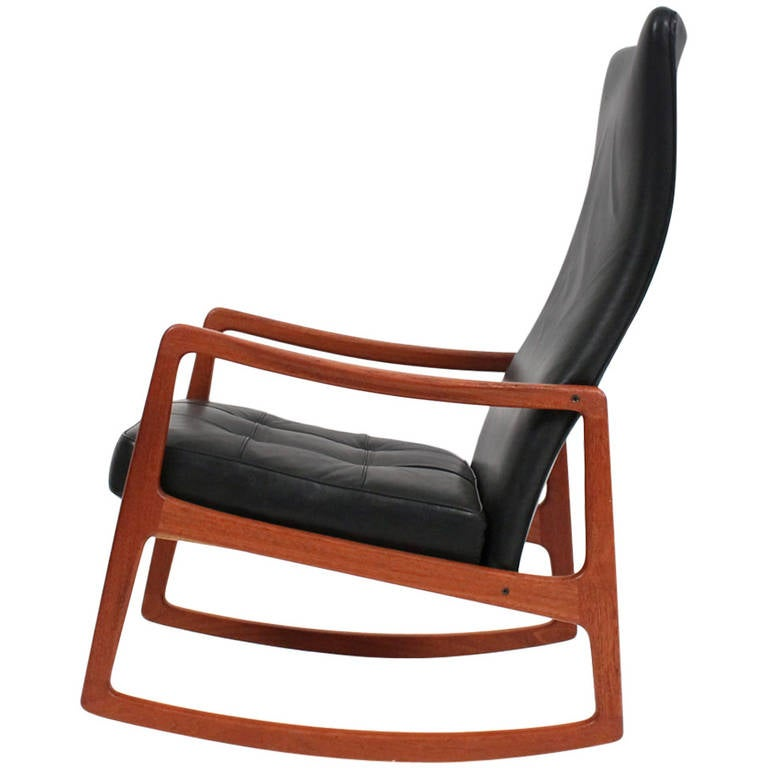 Great Rare Wingback Rocking Chair By Ole Wanscher 1