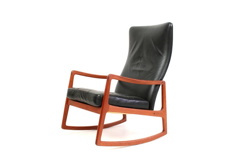 Rare Wingback Rocking Chair by Ole Wanscher at 1stdibs