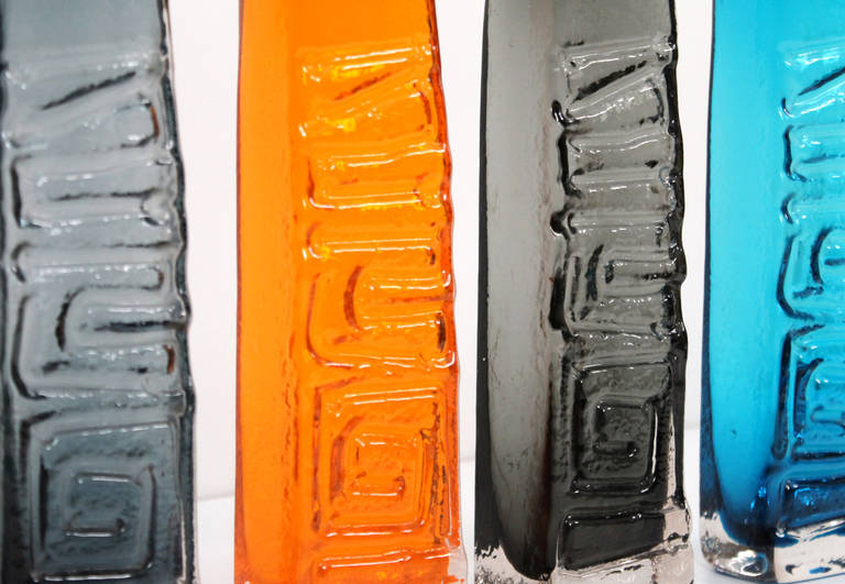 Geoffrey Baxter Whitefriars TOTEM Pole Glass Vase Collection In Excellent Condition For Sale In Belmont, MA