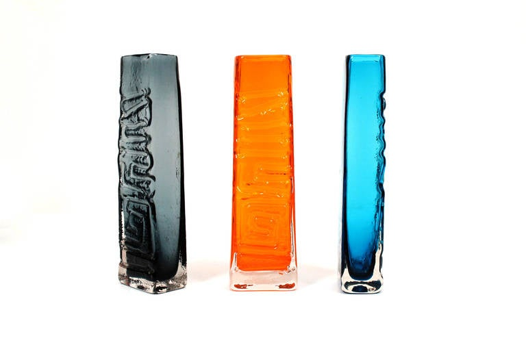 Mid-20th Century Geoffrey Baxter Whitefriars TOTEM Pole Glass Vase Collection For Sale