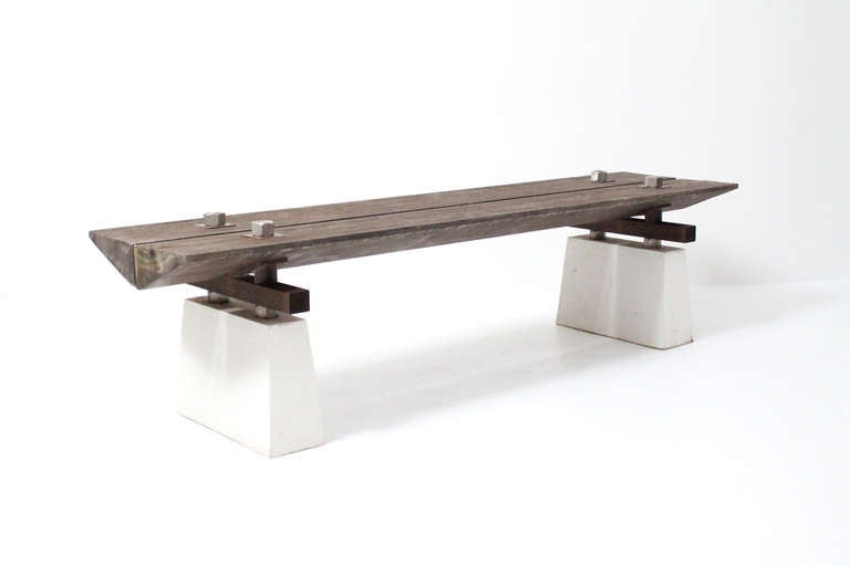 Modern Outdoor Benches : 1980s Post Modern Minimalist Architectural Outdoor Bench at 1stdibs