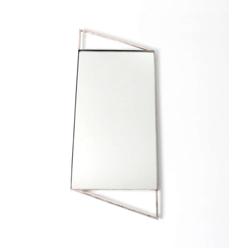 Art Deco Mirror Vanity Or Serving Tray In Silver Plate 2