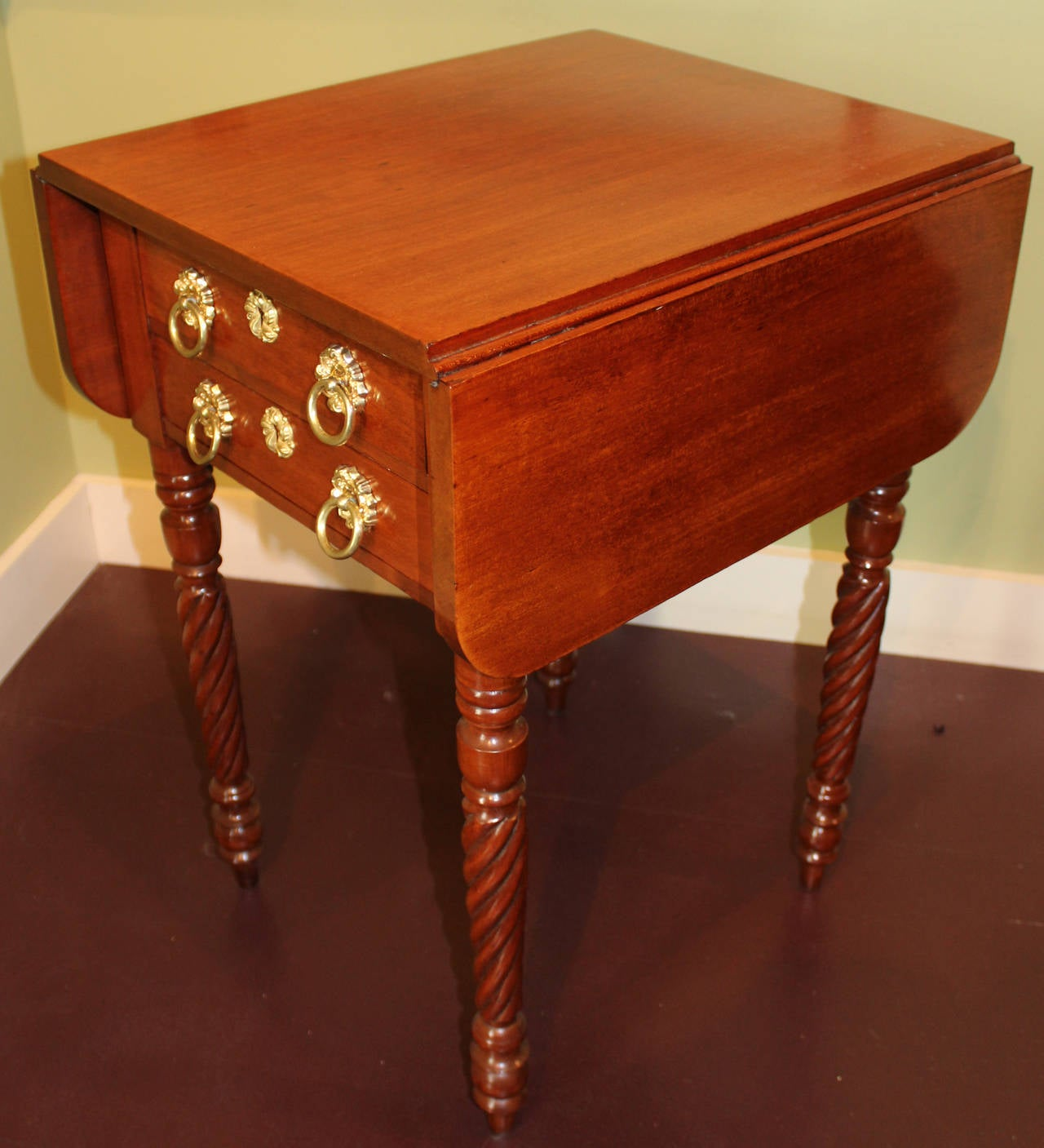 Federal Sheraton Style Cherry Two Drawer Work Table At 1stdibs