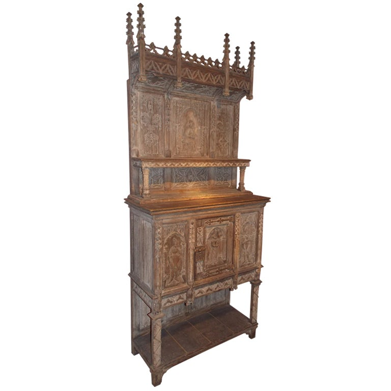 19th Century French Gothic Revival Two-Part Cupboard