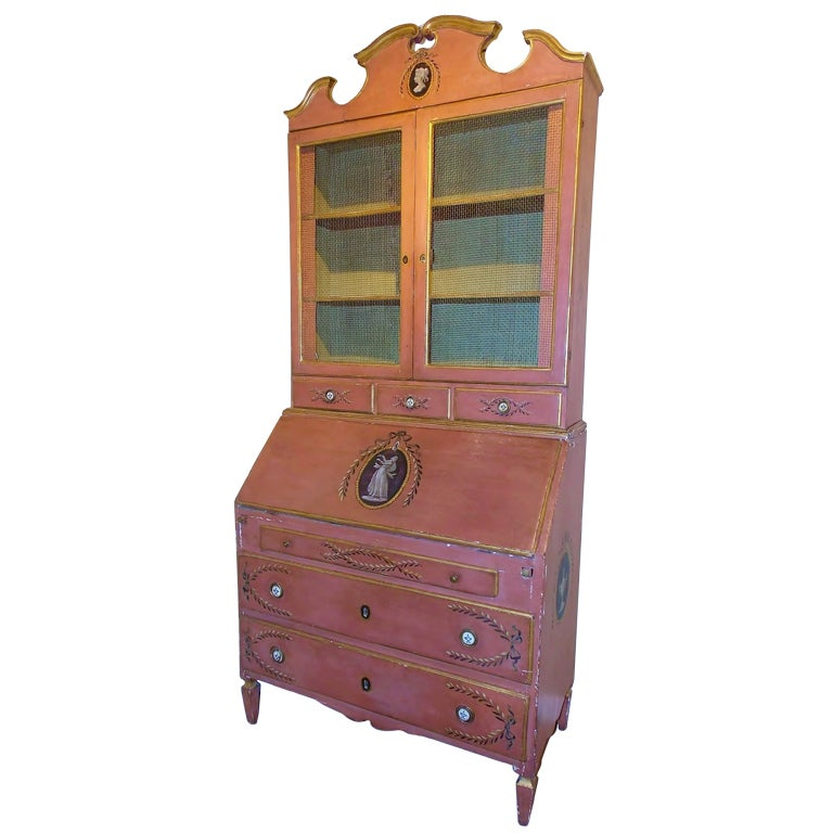 19th Century, Italian Painted Secretaire, Desk and Bookcase