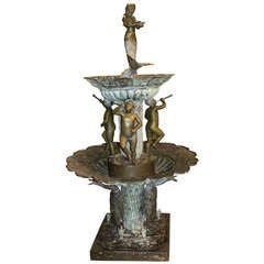 20th c Bronze Tiered Fountain with Mermaid, Putti, & Geese, after Auguste Moreau
