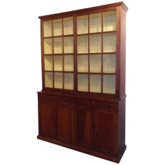 Early 19th c. Cherry Stepback Cupboard with Glazed Doors