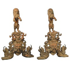 Bronze Figural Andirons with Lions & Mythical Creatures
