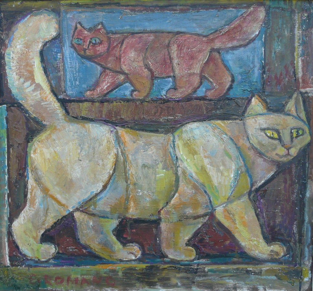"Oil painting titled ""Two Cats"" created in 1958 by Emanuel Glicenstein Romano (1897-1984).  Oil on board, signed lower left, label en verso. Original frame.  Framed dimensions are 28.75"" x 30.75""."