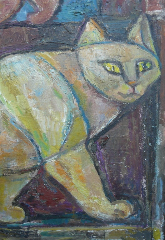 "American Emanuel Romano Oil Painting ""Two Cats"" 1958 For Sale"