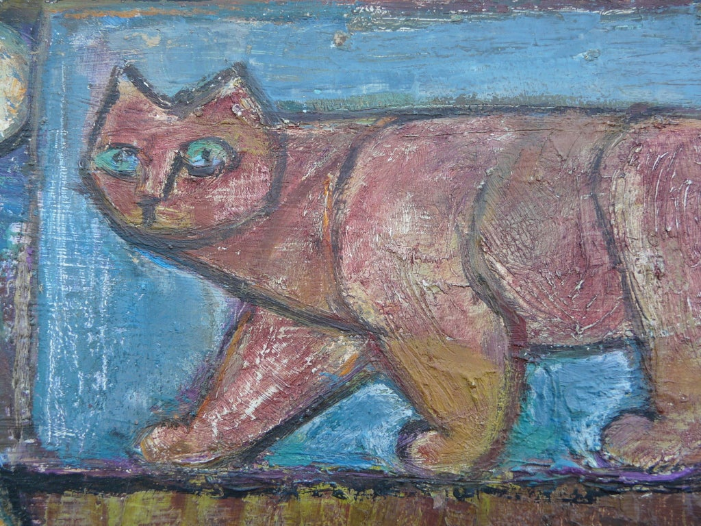 "Mid-20th Century Emanuel Romano Oil Painting ""Two Cats"" 1958 For Sale"