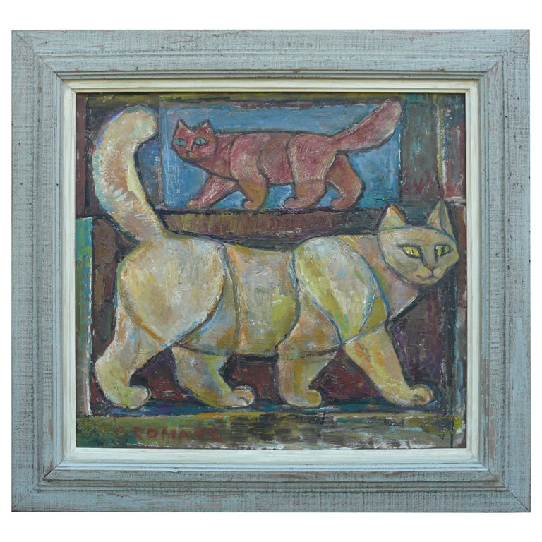 "Emanuel Romano Oil Painting ""Two Cats"" 1958 For Sale"
