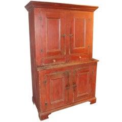 19th c. Red Painted Blind-Door Stepback Cupboard