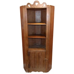 19th c. Virginia Yellow Pine Corner Cupboard