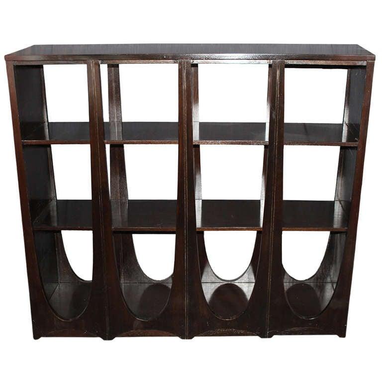 Modernist Ebonized Double-Sided Bookcase at 1stdibs