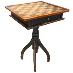 19th Century Game Board Top Table in Great Paint