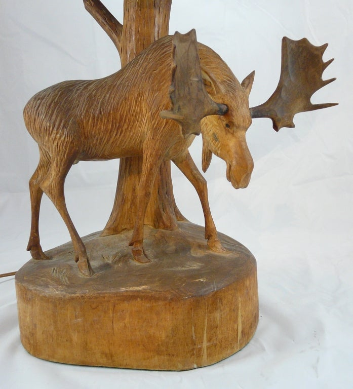 Antique Hand-Carved Tree Stump Moose Lamp Tested /& Working