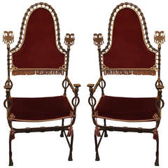 Early 20th Century Pair of Metalwork Chairs in the Manner of Oscar Bach
