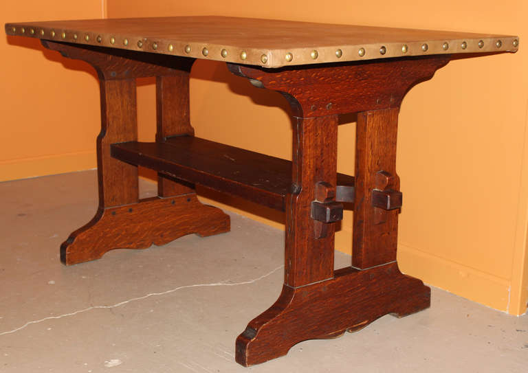 Gustav Stickley Oak Trestle Or Library Table With Leather Top 2