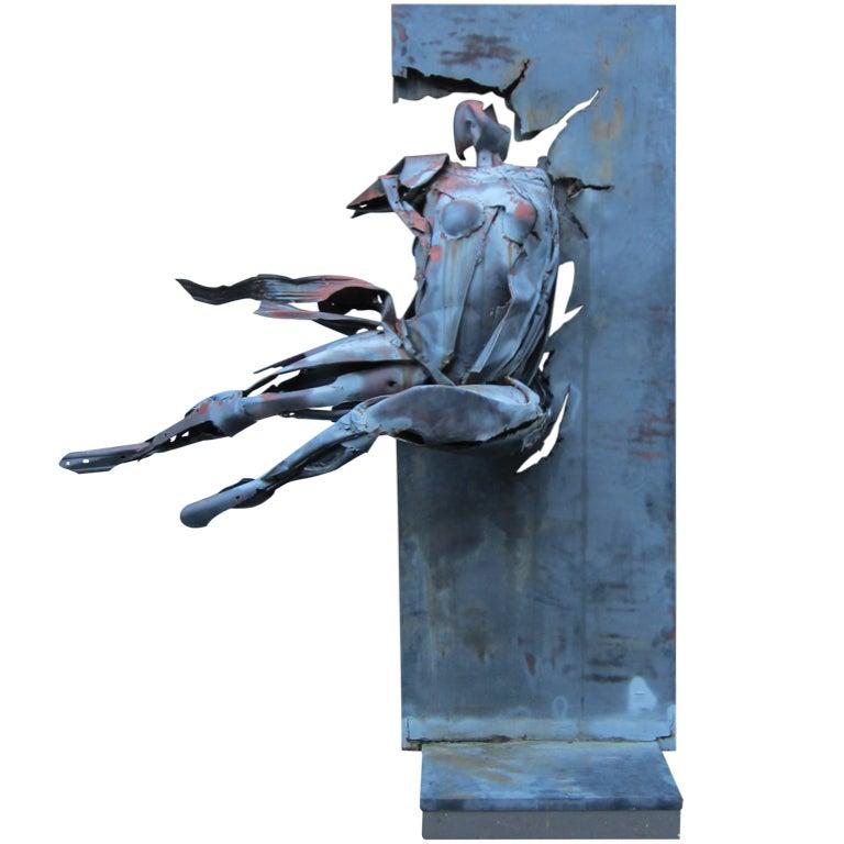 Monumental judith brown metal sculpture titled break for Metalart polen