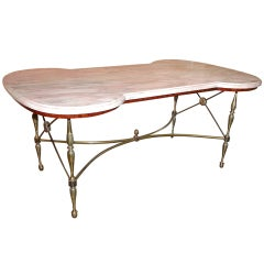 Hollywood Regency Style Italian Marble Top Coffee Table