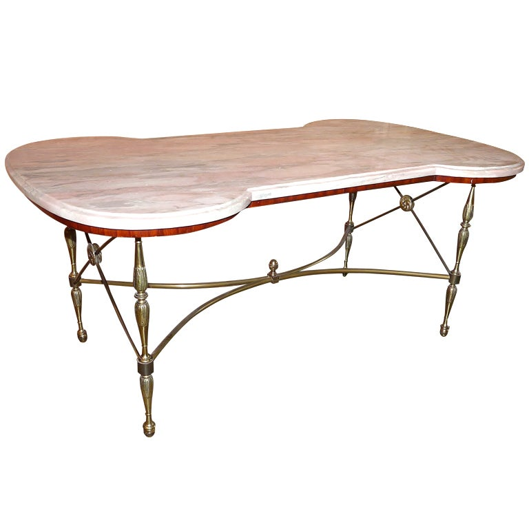 Hollywood regency style italian marble top coffee table at 1stdibs Tuscan style coffee table