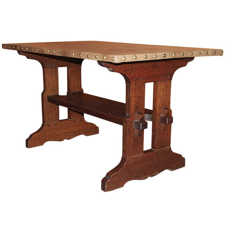 Gustav Stickley Oak Trestle Or Library Table With Leather Top 1