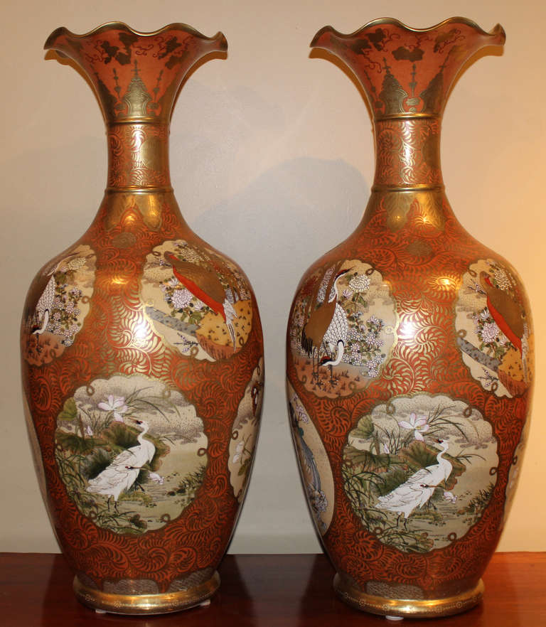Pair Of Large Orange And Gold Gilt Japanese Satsuma Vases For Sale